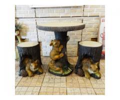 松鼠一桌兩椅(圓桌.凳子.庭園.戶外桌.家具.兒童桌.立體造型.露天陽台)