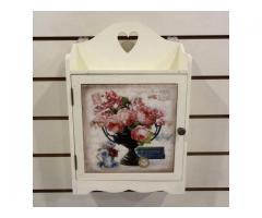 玫瑰鄉村鑰匙箱(彩繪磁磚.馬賽克.6勾.鑰匙盒.收納盒.手環.項鍊)